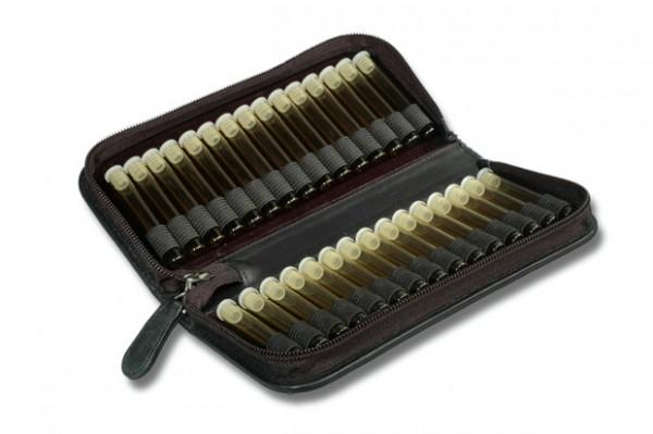 Taschenapotheke, Echtleder schwarz, für 30 Flachbodengläse