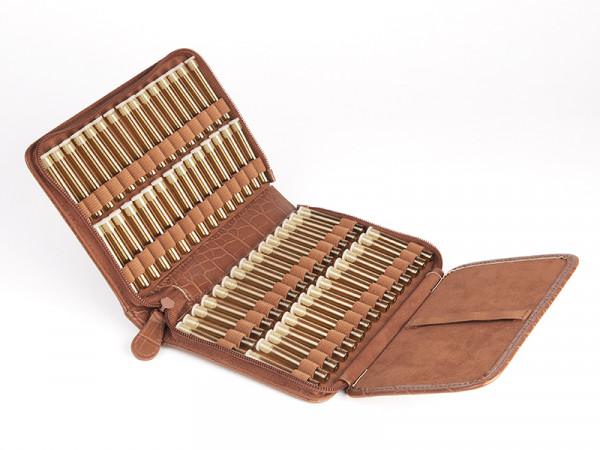 Preiswerte Taschenapotheke, Kunstleder crocoimitat, braun mit 60 Gläschen (z.B. für Sanjeevini Kombi