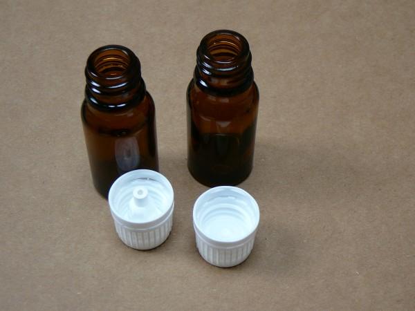 Braunglasfläschchen 10 ml mit versch. Verschlüssen einzeln