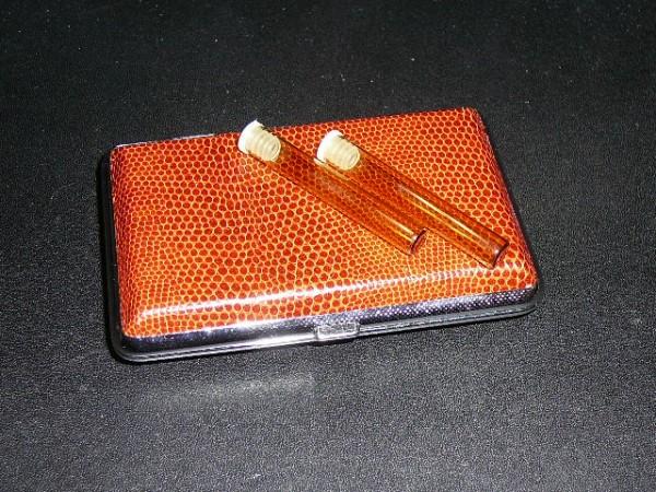 Taschenapotheke, Metalletui in edler Lederoptik für 12 Flachbodengläser