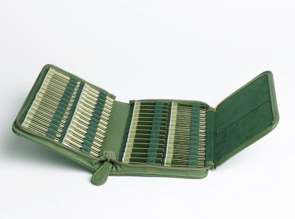 Preiswerte Taschenapotheke, Kunstleder grün mit 60 Gläschen, Bio-Globuli Nr. 3 HAB