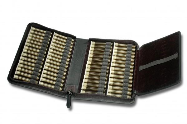 Taschenapotheke, Echtleder schwarz, für 60 Flachbodengläser